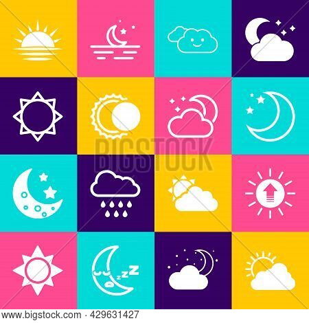 Set Sun And Cloud Weather, Sunset, Moon Stars, Cloud, Eclipse Of Sun, And With Moon Icon. Vector