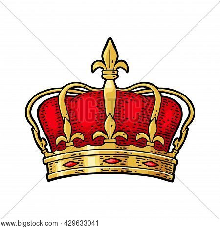 King Crown. Engraving Vintage Vector Black Illustration. Isolated On White