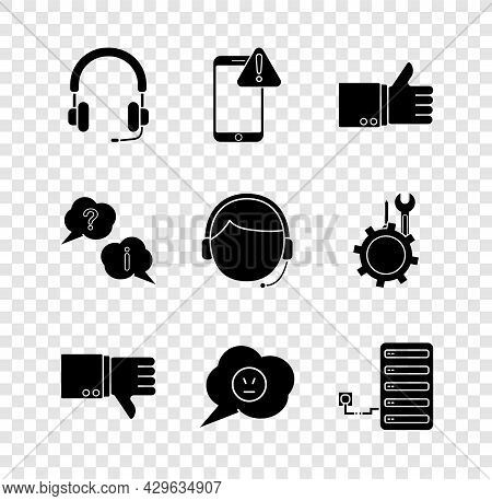 Set Headphones, Mobile With Exclamation Mark, Hand Thumb Up, Dislike, Speech Bubble Angry Smile, Ser