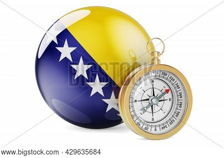 Compass With Bosnian Flag. Travel And Tourism In Bosnia And Herzegovina Concept. 3d Rendering Isolat
