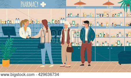 People In Queue Buying Drugs In Pharmacy Store Vector Illustration. Pharmacist And Clients In Counte
