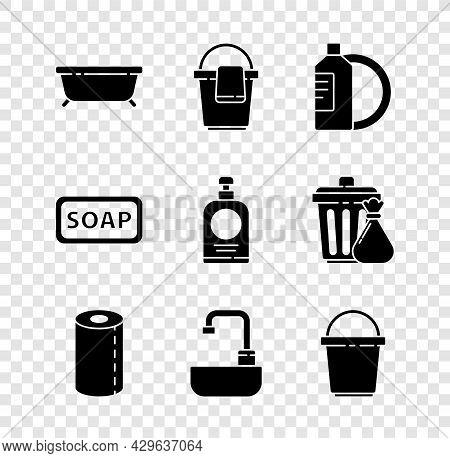 Set Bathtub, Bucket With Rag, Dishwashing Liquid Bottle And Plate, Paper Towel Roll, Washbasin Water