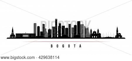 Bogota Skyline Horizontal Banner. Black And White Silhouette Of Bogota, Colombia. Vector Template Fo