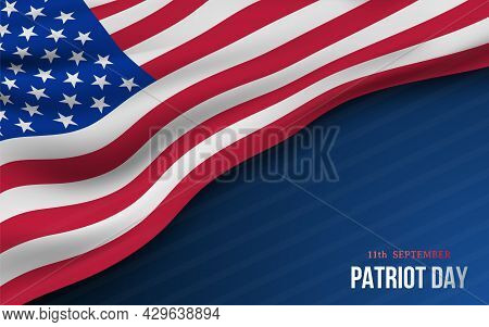 Vector Banner With American Flag And Text Patriot Day On Dark Blue Background. National Remembrance