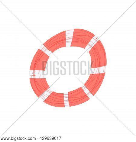 Hand Drawn Vector Illustration Of Cartoon Swim Ring, Life Belt Buoy. Isolated On White Background.