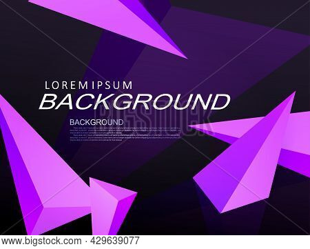 Black Composition With A Gradient, Light Purple Triangles.