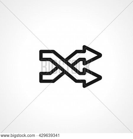Intertwined Arrows Simple Isolated Web Vector Icon.