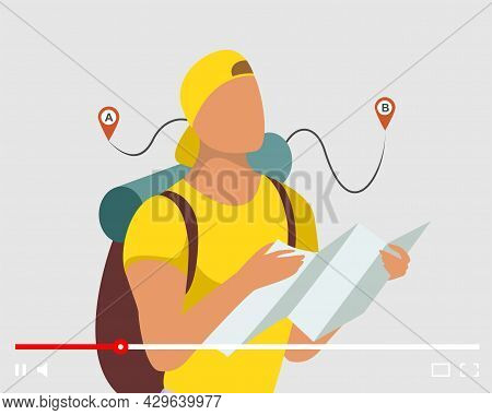 Tourist Man Vlogger Holding Map And Looking Route On Online Video Player Interface. Travel Blog Cont