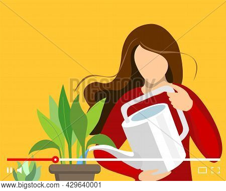 Blogger Woman Houseplant Care On Online Video Player Interface. Female Housewife Watering Plant In P