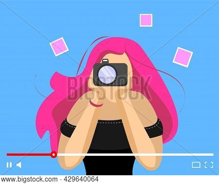 Blogger Girl With Photo Camera On Online Video Player Interface. Female Photographer Web Streaming.