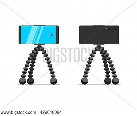 Smartphone On Tripod Stand Front And Back View Set. Mobile Phone On Rack. Video Blogger Equipment St
