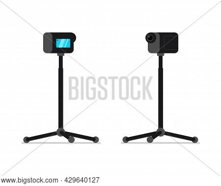 Action Camera On Monopod Stand Front And Back View Set. Mobile Hd 4k Camcorder On Rack. Video Blogge