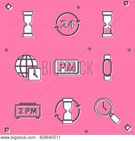 Set Old Hourglass, Clock 24 Hours, World Time, Pm, Smartwatch, Digital Alarm Clock And Icon. Vector
