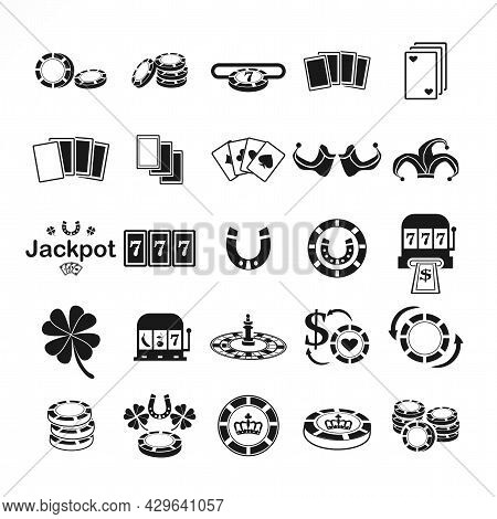 Casino Icon Set, With Clot. Playing Card, Dice Cube