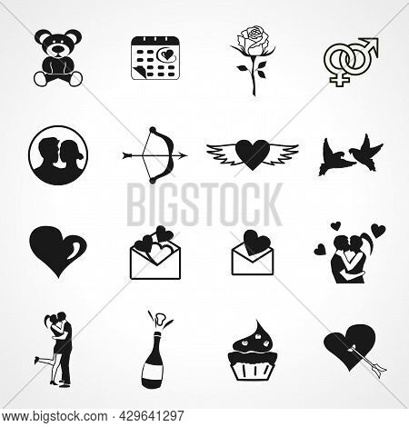 Love Icon Set With Love Couple, Love Message