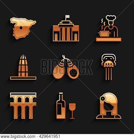 Set Castanets, Wine Bottle With Glass, Spanish Woman, Peineta, Aqueduct Of Segovia, Agbar Tower, Coo