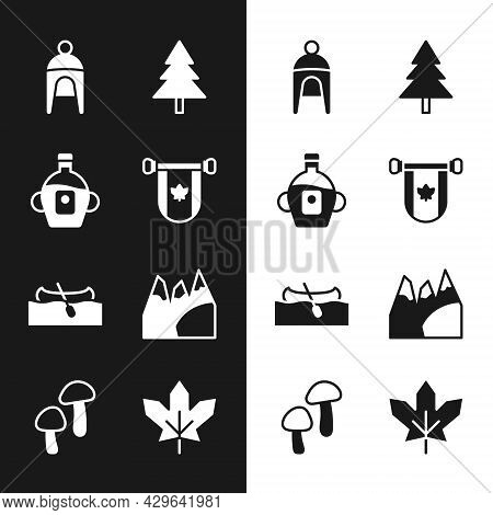 Set Pennant Canada, Maple Syrup, Winter Hat, Christmas Tree, Kayak Or Canoe, Mountains, Canadian Map