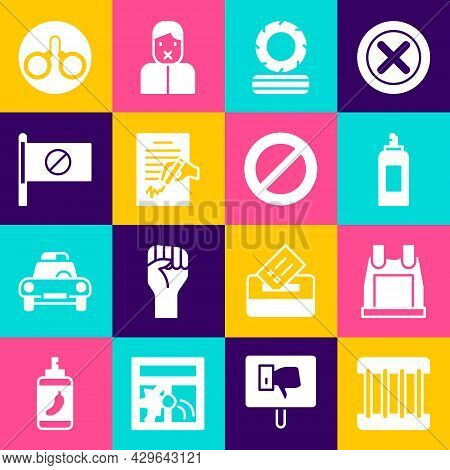 Set Prison Window, Bulletproof Vest, Paint Spray Can, Lying Burning Tires, Petition, Protest, Handcu