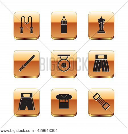 Set Jump Rope, Boxing Short, T-shirt With Fight Club Mma, Gong, Japanese Katana, Award Cup, Chest Ex