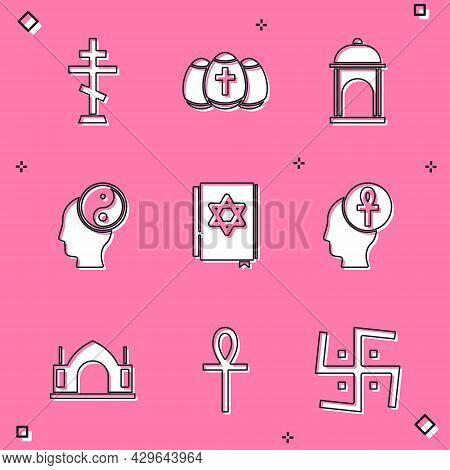 Set Christian Cross, Easter Egg, Muslim Mosque, Yin Yang, Jewish Torah Book, Cross Ankh, Hindu Spiri