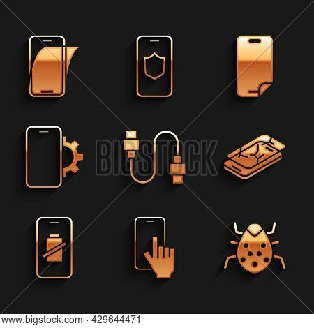 Set Usb Cable Cord, Phone Repair Service, System Bug, Mobile With Broken Screen, Smartphone Battery
