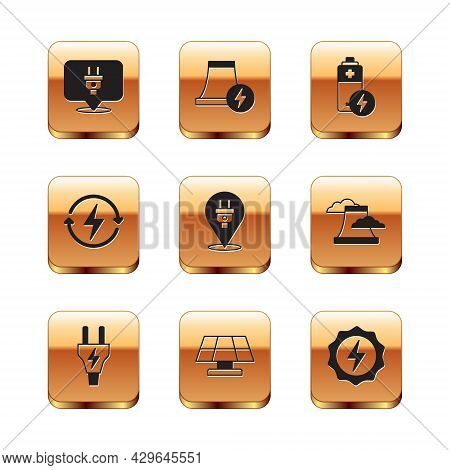 Set Electric Plug, Solar Energy Panel, Recharging, Battery, Lightning Bolt And Nuclear Power Plant I