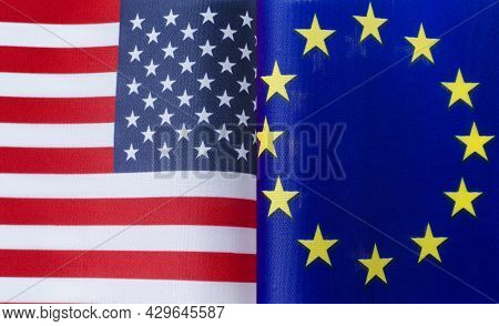Fragments Of The National Flags Of The United States And The European Union In Close-up