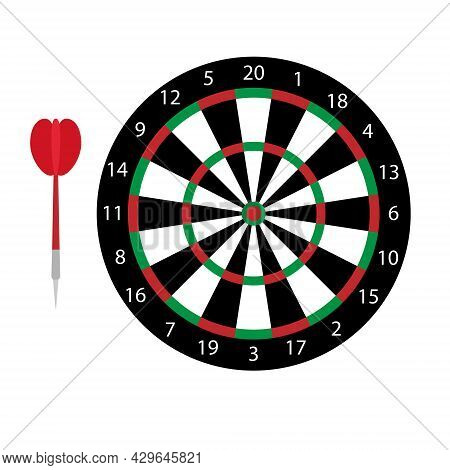 Vector Flat Cartoon Colored Darts Board Isolated On White Background