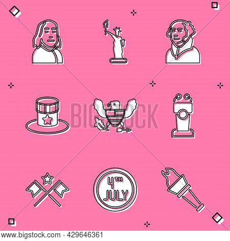 Set Benjamin Franklin, Statue Of Liberty, George Washington, Patriotic American Top Hat, Eagle, Stag