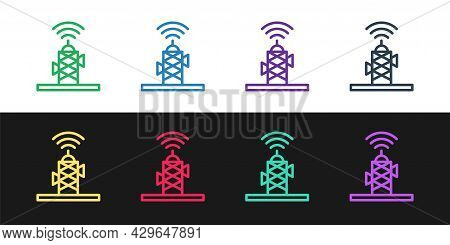 Set Line Wireless Antenna Icon Isolated On Black And White Background. Technology And Network Signal