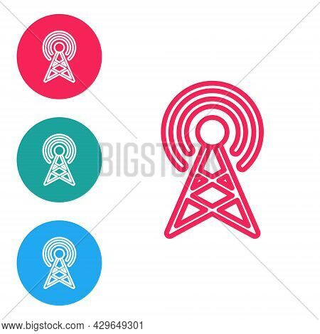 Red Line Antenna Icon Isolated On White Background. Radio Antenna Wireless. Technology And Network S