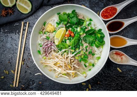 Soup Pho Bo With Beef And Spices, Vietnamese Food