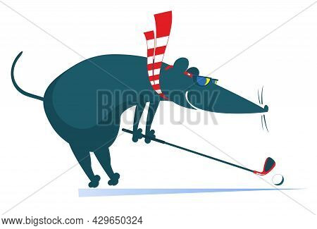 Cartoon Rat Or Mouse Plays Golf Illustration.  Funny Rat Or Mouse Tries To Do A Good Kick Isolated O