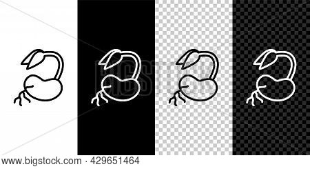 Set Line Sprout Icon Isolated On Black And White, Transparent Background. Seed And Seedling. Leaves