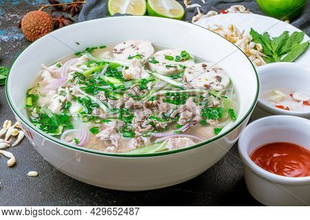 Soup Pho Bo With Beef On Dark Stone Table
