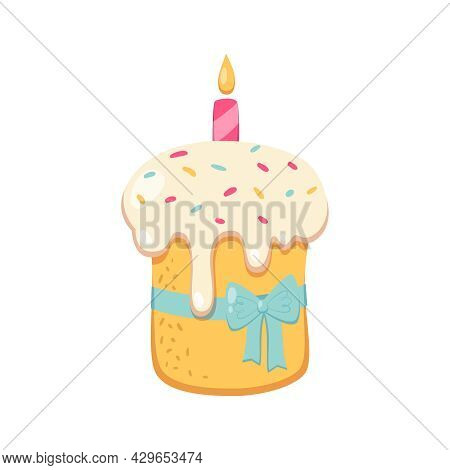 Easter Cake With Icing Candle And Blue Ribbon Cartoon Vector Illustration