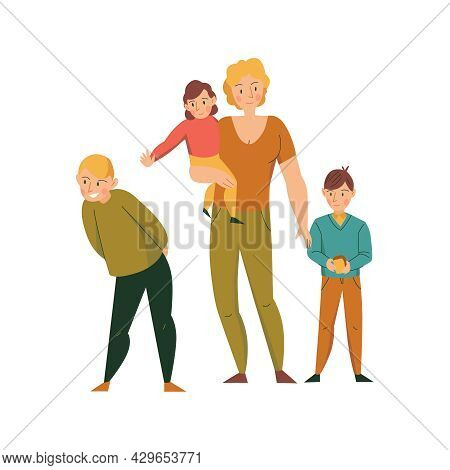 Zoo Visitors With Family And Boy Holding Bread Flat Vector Illustration
