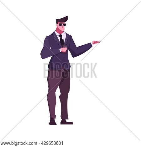 Flat Male Character Of Bodyguard On White Background Vector Illustration