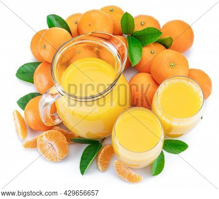 Orange tangerine fruits and fresh tangerine juice isolated on white background. Top view.