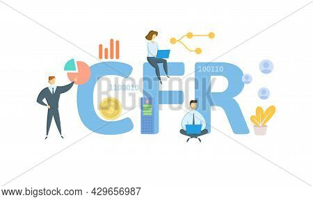 Cfr, Code Of Federal Regulations. Concept With Keyword, People And Icons. Flat Vector Illustration.