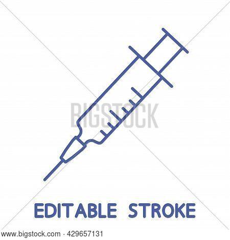 Medical Syringe, Injection Icon. Needle In Outline. Thin Line Medical Needle Icon. Disposable Syring