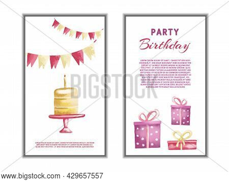 Set Of Watercolor Happy Birthday Greetings Card Design. Celebration Colorful Vector Illustrations Wi