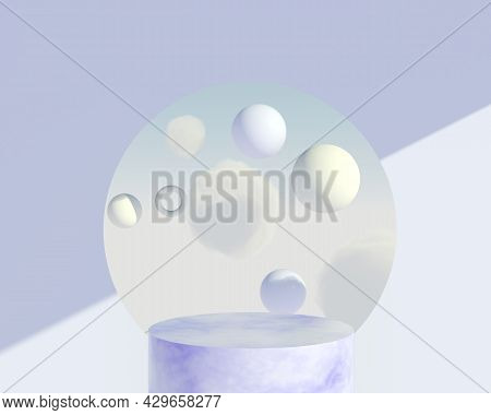 Background 3d Rendering With Podium And Minimal Cloud Scene, Minimal Product Display Background 3d R