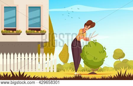 Summer Daily Routine Flat Composition With Happy Woman Pruning Bush Near Her Country House Cartoon V