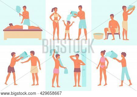 Water Procedures Set Of Flat Square Compositions With Doodle Human Characters Performing Bathing Pro