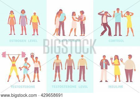 Hormones Set Of Flat Compositions With Text Captions And People In Various Situations Need Certain H