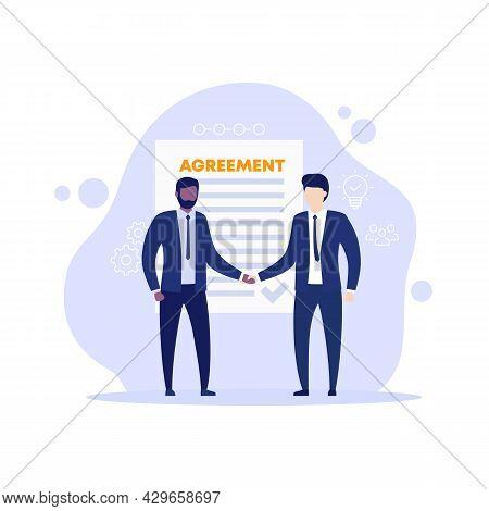 Agreement, Men In Suits Shaking Hands, Vector