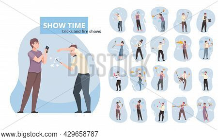 Show Time Flat Icons Set Of Illusionist Trickster Clown Fire Show Performer Characters Isolated Vect