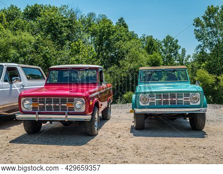 Gainesville, Georgia Usa - June 13, 2020  Two Old Antique Restored Early Model Ford Bronco's Parked