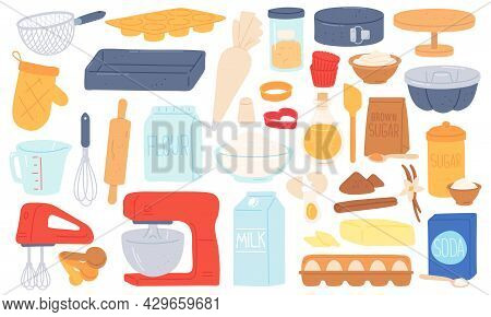 Flat Baking Ingredient, Kitchen Utensil And Food Product. Mixer, Rolling Pin, Brown Sugar Flour And